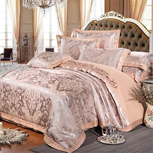 Teensoiibey Chinese Wedding Style Jacquard Bedding 100% Cotton Embroidered Pillowcase Duvet Cover Bed Sheets Such King