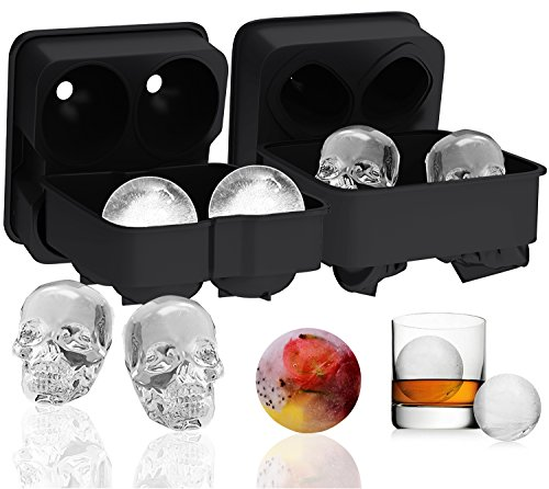 Ouddy 2 Pack Ice Ball Maker Skull Mold, Silicone Ice Cube Trays, Giant Black Skull & Round Ice Cube Maker with 2 Plastic Funnels for Whiskey Wine, Cocktails and Beverages ()
