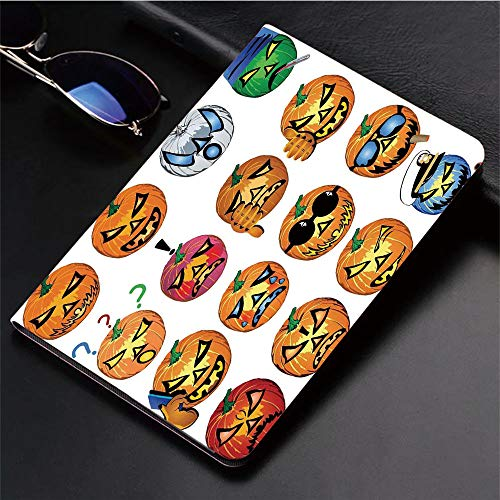 Compatible with iPad 2/3/4 Case,Pumpkin with Emoji Faces Halloween Humor Hipster,Slim Anti-Scratch Shell Auto Sleep/Wake,3D Printed Protection Apple iPad 9.7