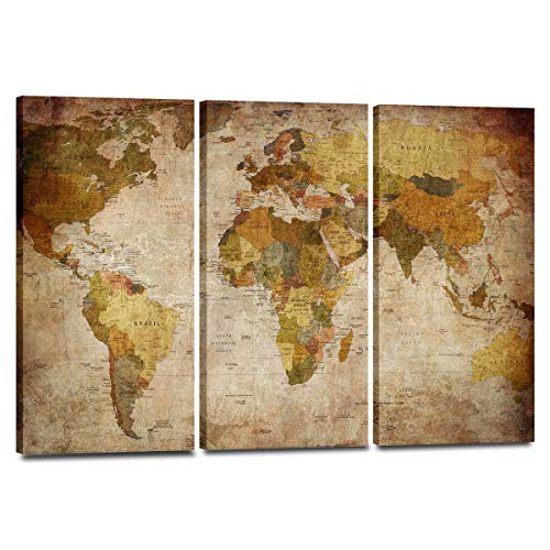 Vintage World Map Canvas Wall Art - Ready to Hang - Home Office Decor Picture Prints for Living Room, Bedroom - 63