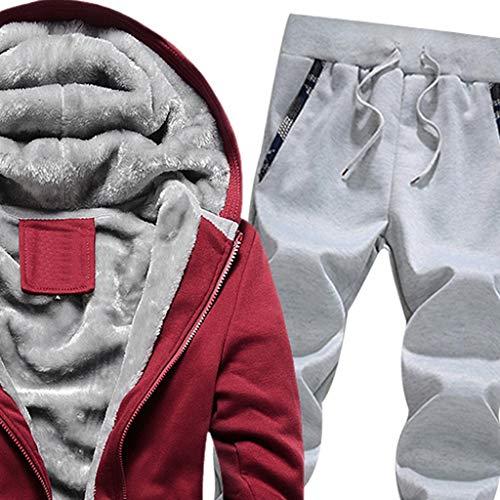 Sudare Flanella In Rosso Da Cappuccio Warm Pantaloni Sportivi Con Uomo Tuta Sanfashion Jacket P8On80B