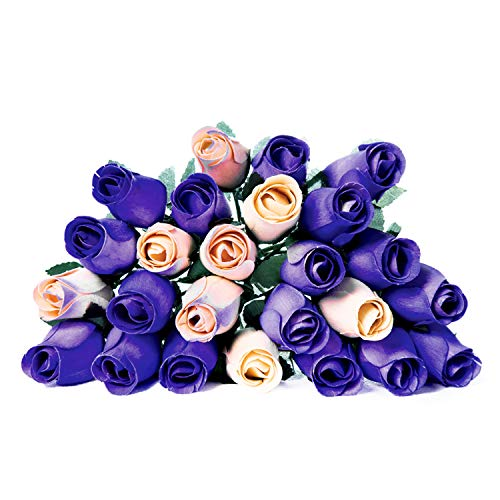 24 Realistic Wooden Roses Flowers - Purples & Cream ()