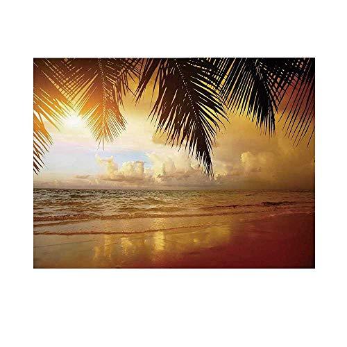 Ocean Decor Photography Background,Sunset on The Beach of Caribbean Sea Coast Backdrop for Studio,10x10ft