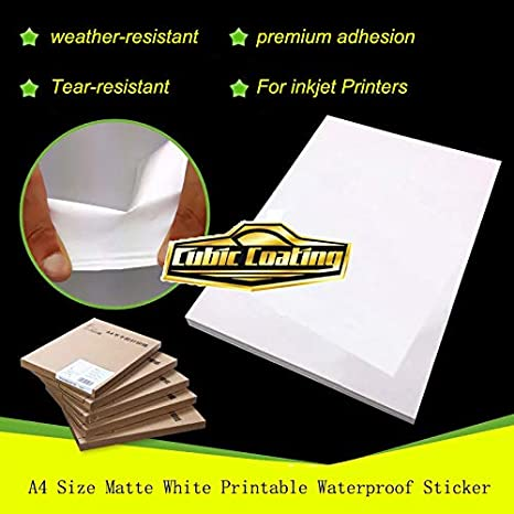 Papel adhesivo impermeable blanco mate tamaño A4 (21,6 x 27,9 cm ...