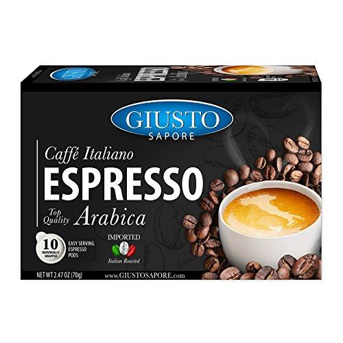 Giusto Sapore Caffe Italiano Espresso Italian Roasted Top Quality Arabica Coffee - 10 Easy Serving Espresso Pods - Premium Superior Quality Gourmet Brand - Family Owned