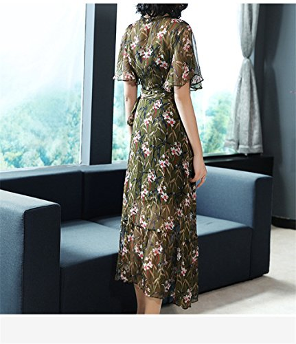 Dress cotyledon Neck High Green Dress Women`s Printed Elegant V Waist qwq4gA6