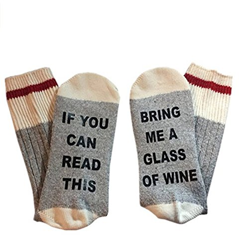 IF You Can Read This Please Bring Me A Glass Of Wine Socks Unisex Comfort Cotton Socks by - Refrigerator Perfect Pair Magnet