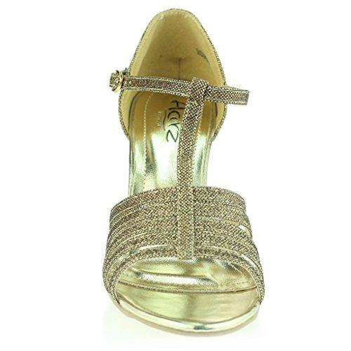 Mujer Señoras Punta Abierta T Bar Delgado Tacón Medio Noche Fiesta Boda Prom Sandalias Zapatos Talla Marrón