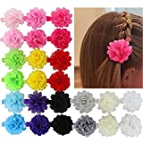 Image of Chiffon 2in Multilayer Chiffon Silk Artificial Flowers Top Petti Skirt Flowers Clips Set Of 24 Colors