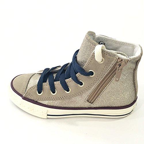 Converse Mädchen Girl Sneaker Chuck Taylor All Star Hi Top gold Zipper *** CT SIDE ZIP HI GOLDEN CREAM/TA *** 650678C Canvas