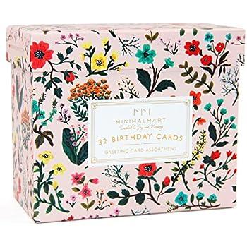 Amazon Minimalmart Birthday Cards Box Set Of 32 Assorted