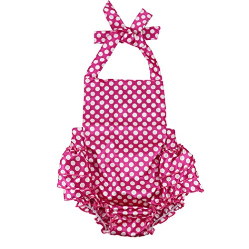 Wennikids Baby Girl's Summer Dress Clothing Ruffle Baby Romper Small Hot Pink Dot -