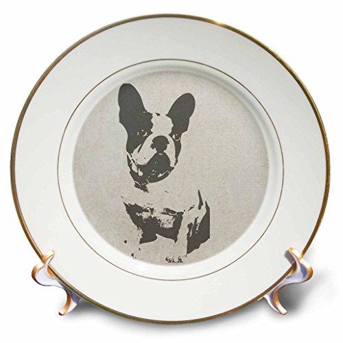 Boston Terrier Plates (3dRose Image of Boston Terrier Vintage Style Art Plate, 8