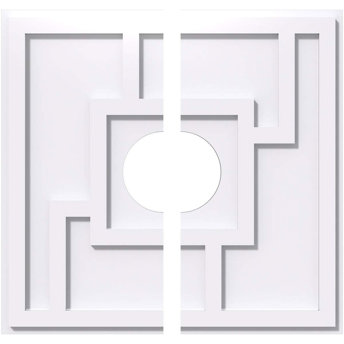 Ekena Millwork CMP28KX2-07000 28 in. OD x 7 in. ID Square Knox Architectural Grade PVC Contemporary Ceiling Medallion - 2 Piece