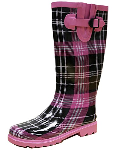 Women's Waterproof Select Welly Rain Plaid Pattern Purple Black Print Boots Cambridge Colorful FqwBXC5Ca