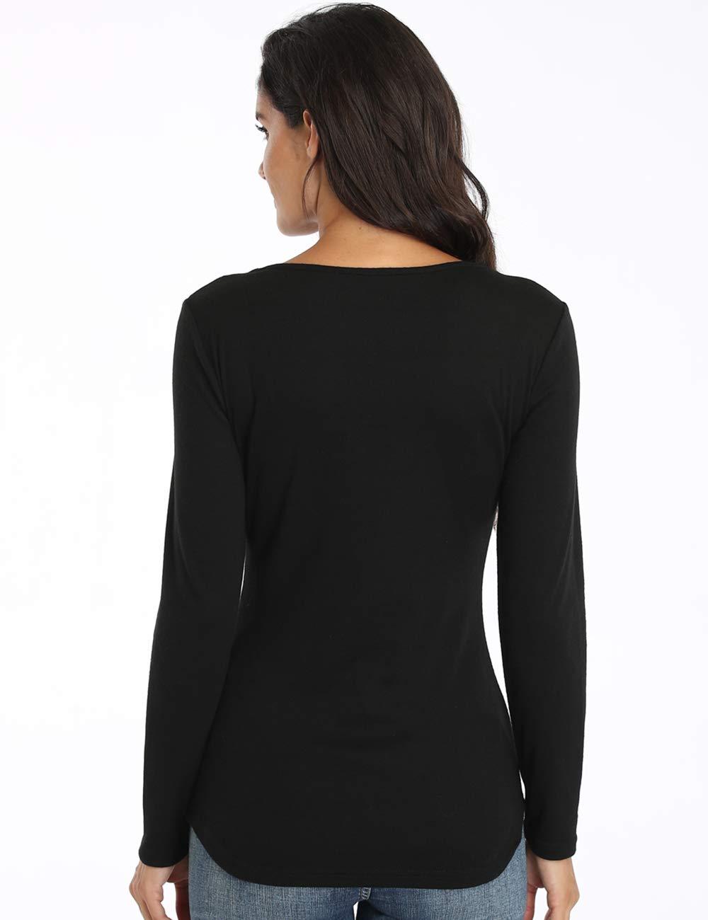 Dilgul långärmad tröja för damer elegant spetsar U urringning oregelbunden fåll jacquard toppar Slim Fit Blus svart