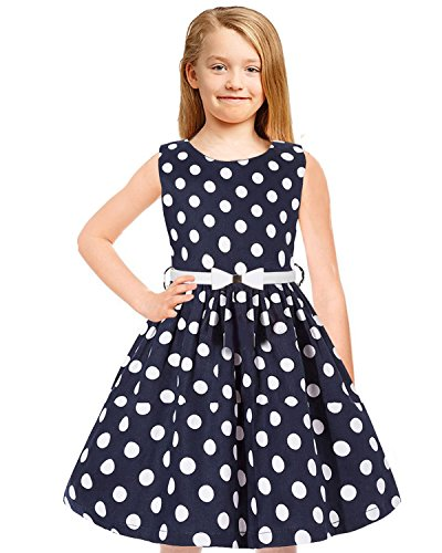 - Tkiames Girls Vintage Polka Dot Easter Sleeveless Casual Swing Party Dress with Belt (9T(9-10 Years), Navy2)