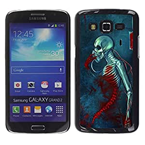 LECELL--Funda protectora / Cubierta / Piel For Samsung Galaxy Grand 2 SM-G7102 SM-G7105 -- Blood Death Grim Blue Skull Skeleton --