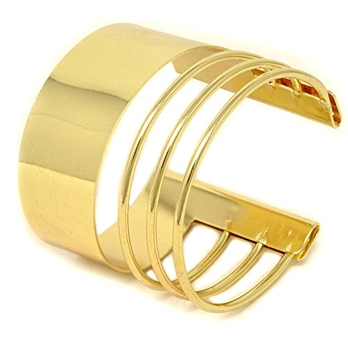 Yueton Rigid Steel Memory Wire Metal Circle Split Ring Coil Wire Thin Jewelry Hammered Bunch Cuff Bracelet Bangle (Golden)