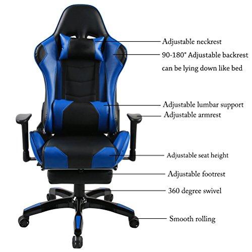 Andeworld Ergonomic Racing Gaming Chairs Pu Leather Swivel