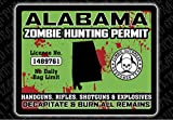 """Alabama Zombie Hunting Permit"" Funny Bumper or Window Sticker"