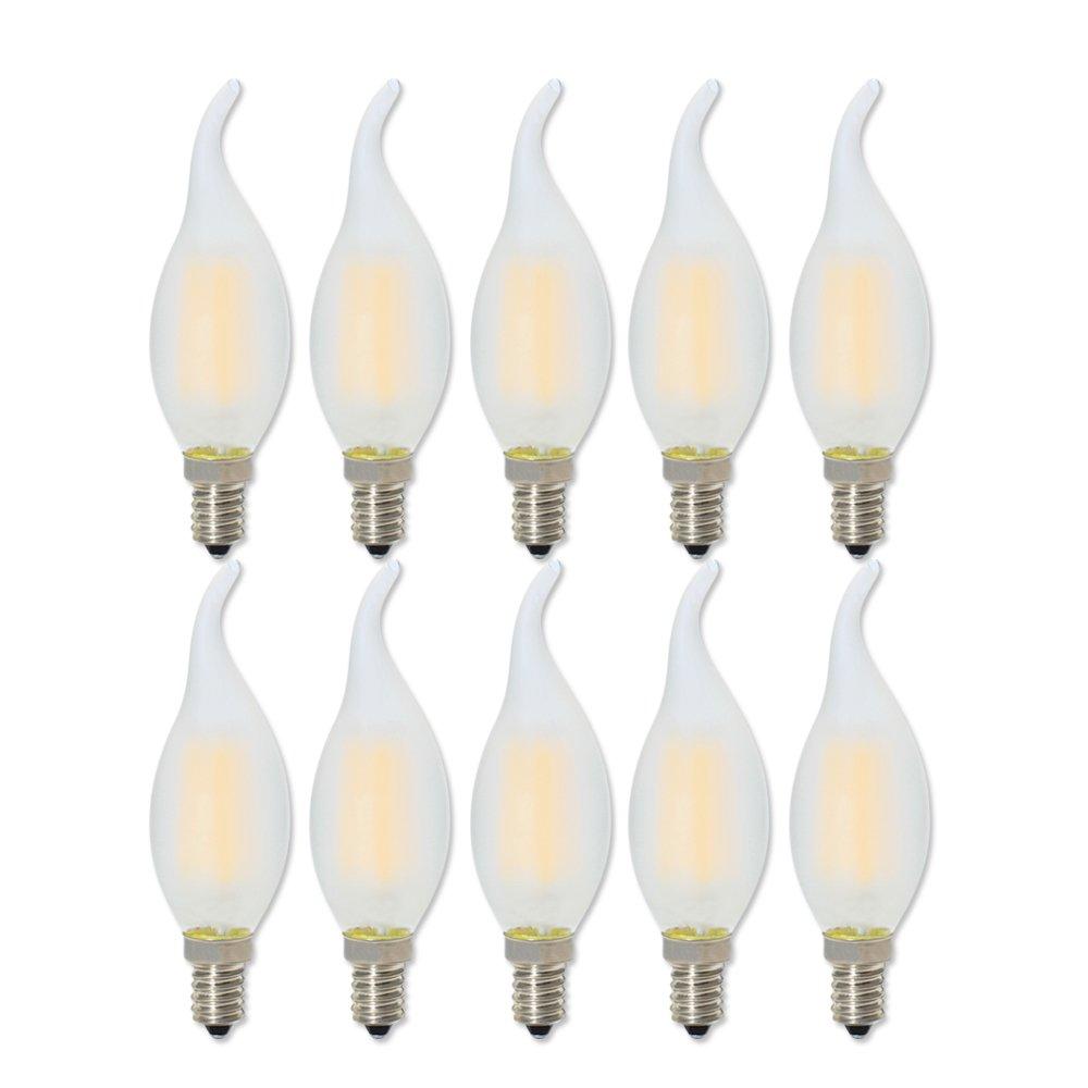 E14 Filament LED 4W Dimmable Ampoule Vintage LED C35 Ampoule Bougie, Blanc Chaud 2700K, Ampoule Edison Retro Équivalent à 40W Ampoules à Incandescence, Lot de 10 Ampoule Edison Retro Équivalent à 40W Ampoules à Incandescence Ainise