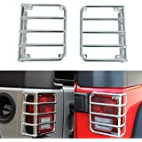 Bentolin Chrome Rear Euro Tail Light Guard Cover Protector for 2007-2017 Jeep Wrangler - Pair