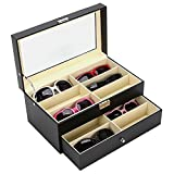 Moldiy Sunglasses Display box for Watches and Jewelry, Eyeglasses Eyewear Display Case, Multi Sunglasses Organizer with 12 Slots