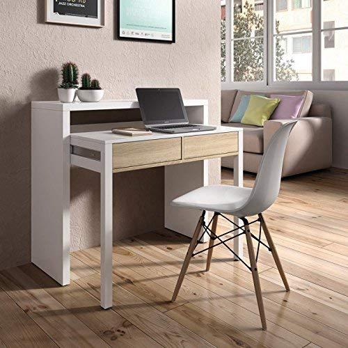 Habitdesign - Mesa Escritorio Extensible, Mesa Estudio Consola, Color Blanco y Roble Canadian, Medidas: 98,5x87,5x36-70 cm de F