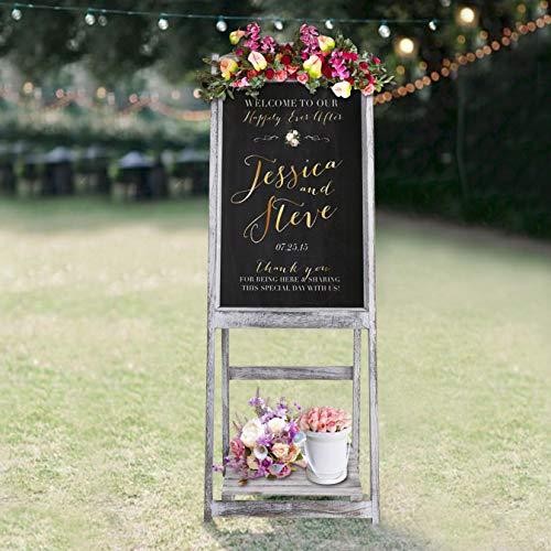 (RHF Wedding Chalkboard Signs,Rustic Wedding Decorations,A-frame Easel Chalkboard Sign with Display Shelf,Vintage Large Chalkboard Easel, Freestanding Easel Message Board (44 Inch,White), 1 Set)