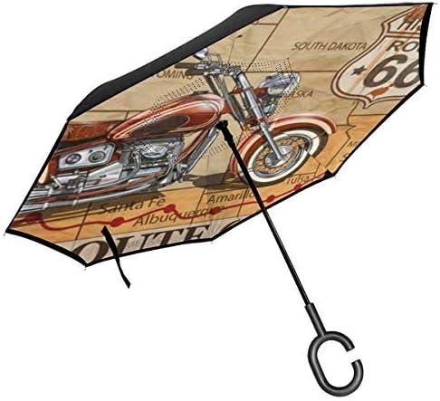 ビンテージルート66オートバイ ユニセックス二重層防水ストレート傘車逆折りたたみ傘C形ハンドル付き