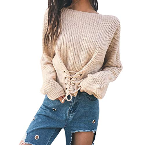 Clearance Sale! Women Long Sleeve Sweater Tops Daoroka Ladies Sexy Bow Solid Bandage Pullover Casual Loose Blouse Fashion Cute Autumn Winter Warm Comfort Tunic Crop Shirt by Daoroka Women Blouse