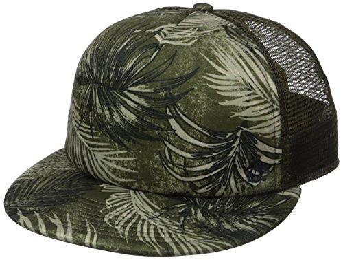Original Penguin Men's Palm Print Flat Visor Cap, Green, One Size