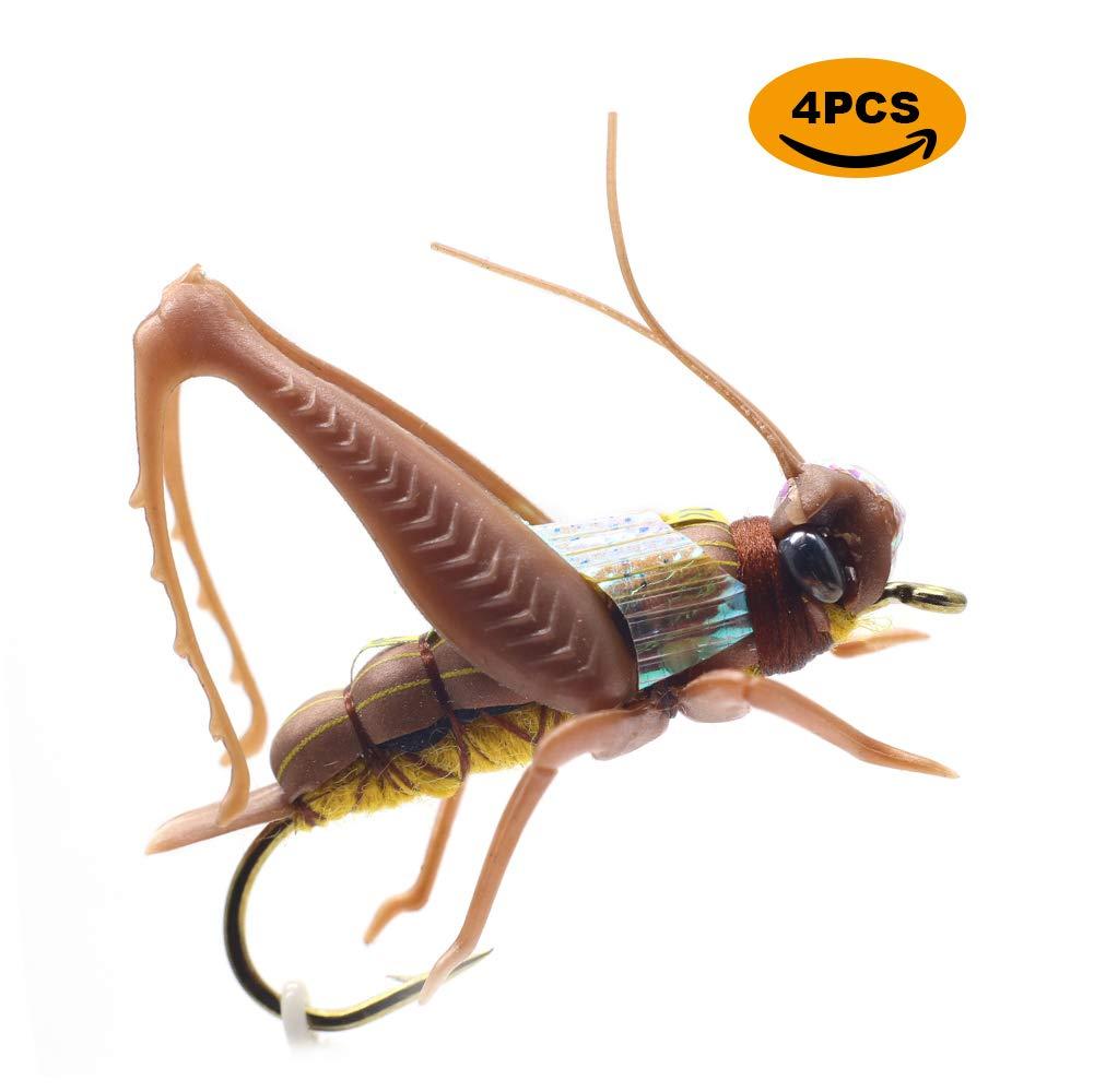 Realistic Grasshopper Dry Fishing Flies Set of 12 Flies Cricket Hopper Fly Fishing Lure For Trout Pike Carp Flyfishing (Medium B4 Tan)