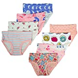 Aschic Girl's Soft Cotton Panties Little Kid's 8 Pack Assorted Briefs (Multi 1, 6-7 Years)