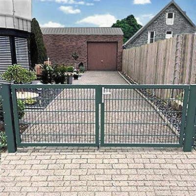 Puerta de doble hoja de 350 cm, puerta de jardín Hoftor verde con cerradura, Verde: Amazon.es: Bricolaje y herramientas