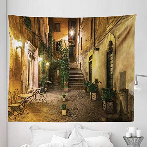 Lunarable Cityscape Tapestry King Size, Courtyard Night View with Street Cafe Chairs Plants in Flowerpots Rome Print, Wall Hanging Bedspread Bed Cover Wall Decor, 104 X 88 , Green Brown