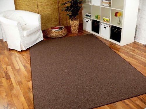 STRONG Feinschlingen Velour Teppich Dunkelbraun in 24 Größen, Größe 200x200 cm