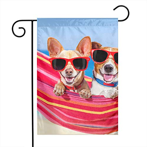 Chihuahua Garden Flag - Two Chihuahua On Hammock Garden Flags Home Indoor & Outdoor Welcome Decorations,Waterproof Polyester Yard Decorative for Game Family Party Banner