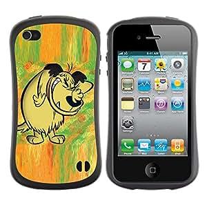 Suave TPU Caso Carcasa de Caucho Funda para Apple Iphone 4 / 4S / Dog Drawing Cartoon Comic Forest Fairytale / STRONG