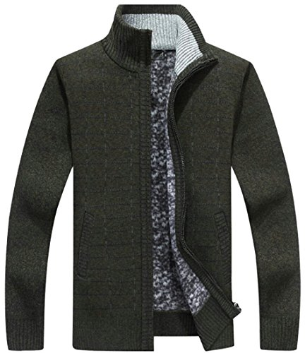 Zip amp;S M amp;W Knit Slim Cardigan Full Men's Pockets 4 Sweaters Thick With dI66Twq