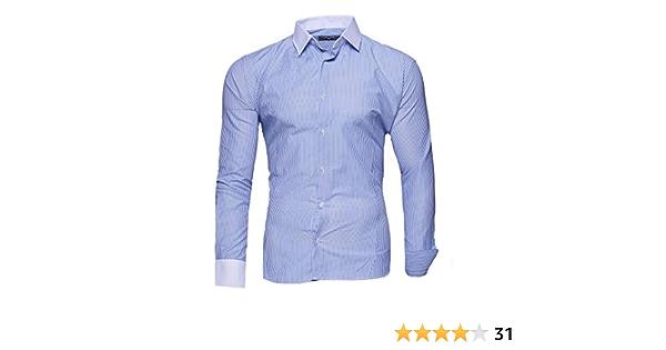 Kayhan Hombre Camisa Manga Larga Slim Fit SML XL 2XL Modello - Rayas