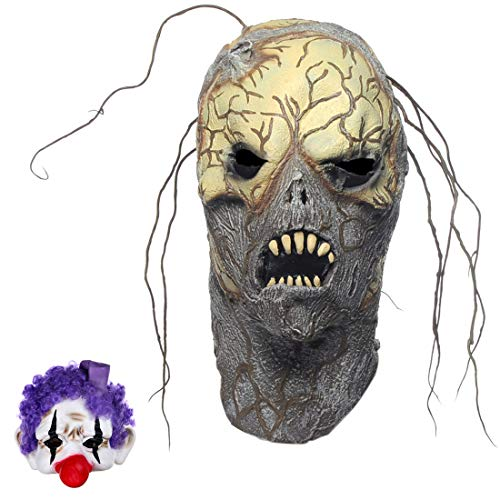 Novelty Halloween Costume Scary Monster Mask Tree Root Spirit with a Gift Half Face Clown Mask]()