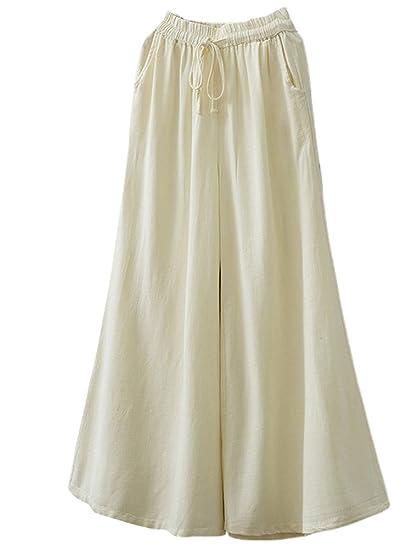 6af5411f36161 MatchLife Femme Pantalon à Taille Haute Culotte en Lin à Jambes Larges  Pantalon à Cordon élastique