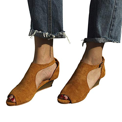 Chaussures Ankle Yesmile Femme Talons Toe Hauts Strap Sandals Femmes forme Wedge Plate Peep À Jaune Chaussure r5qE8wr