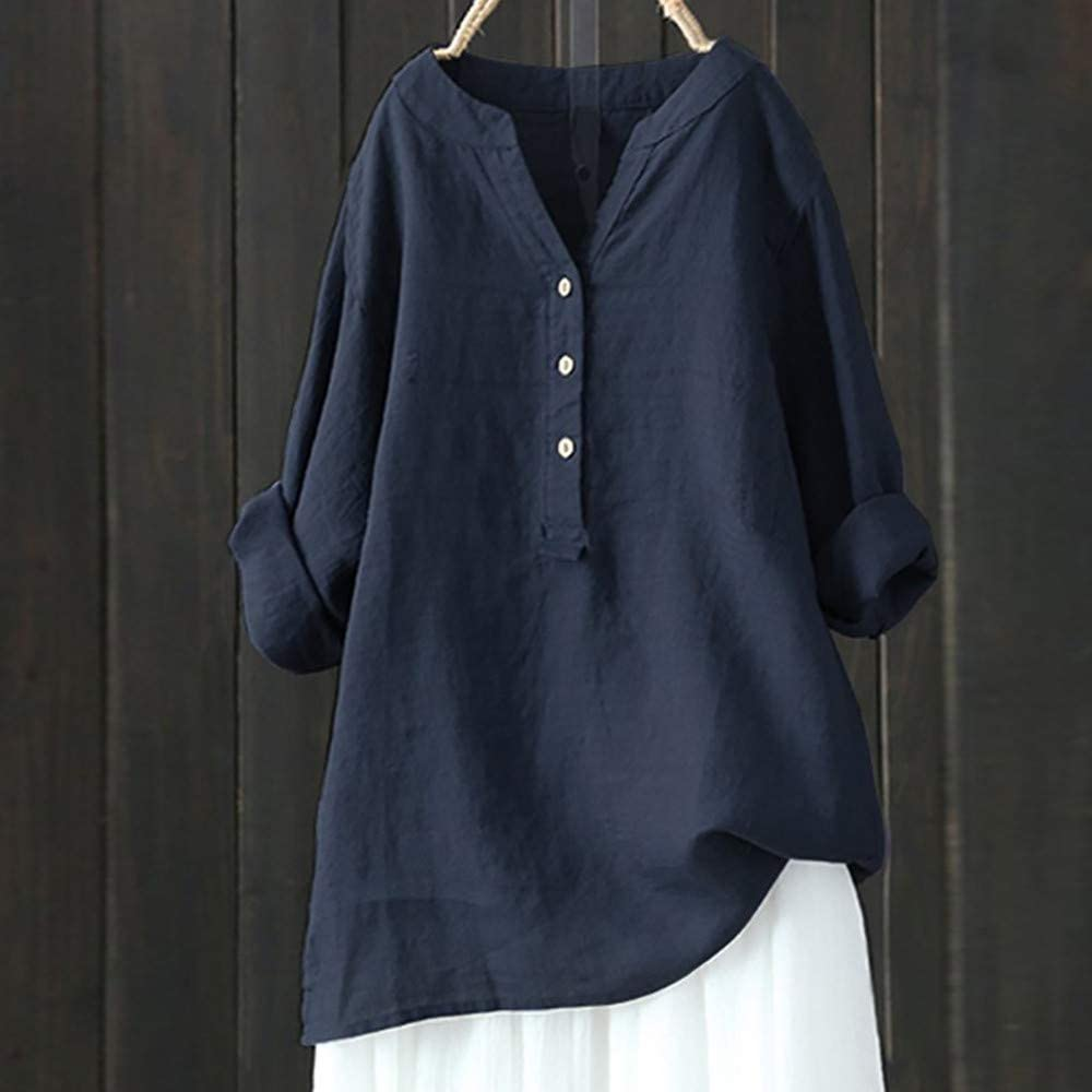 iHENGH Damen Sommer Top Bluse Bequem L/ässig Mode T-Shirt Blusen Frauen Solide Stehkragen Langarm Shirt Beil/äufige Lose Bluse Button Down Tops