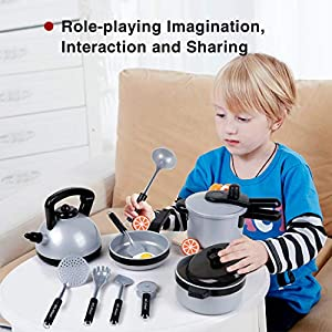 22 Pcs Kids Kitchen Pretend Play Toys, Cooking Toys with Pots and Pans for Toddlers Girls Boys, Cookware Playset Toys…