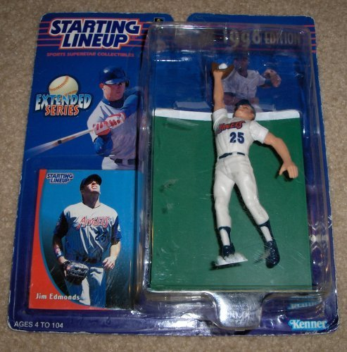 1998 - Kenner - Starting Lineup - Extended Series - MLB - Jim Edmonds #25 - California Angels - Vintage Action Figure - w/ Trading Card - Limited Edition - Collectible