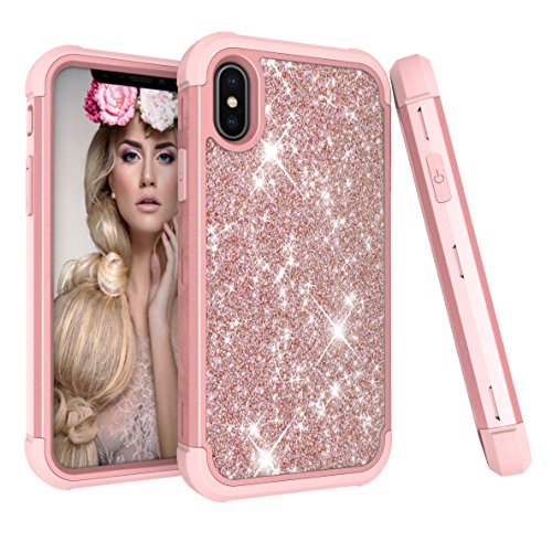 Case for iPhone X, Ankoe 3D Luxury Glitter Sparkle Bling Shiny Heavy Duty Hybrid Sturdy Armor Defender High Impact Shockproof Full-Body Protective Cover Case for Apple iPhone X (2017) (Rose Gold) (Green Accent 9' Plate)