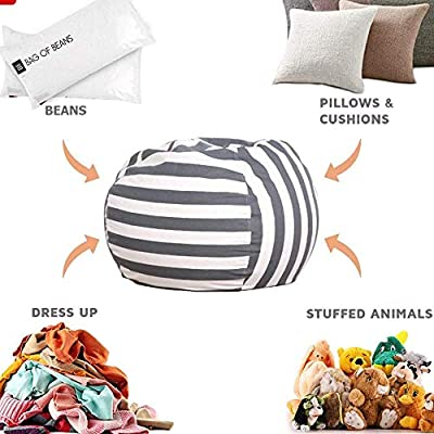 OFADD Stuffed Animal Storage Bean Bag Chair Cover for Kids Stuffable Zipper Beanbag Plush Toy Animal Toy Storage Bag Packing Organizers Cotton Canvas, 24